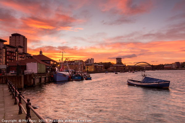 Sunset on the Wear Canvas print by Phil Reay