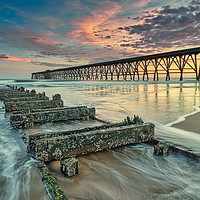 Buy canvas prints of Sunrise at Steetley Pier by Phil Reay