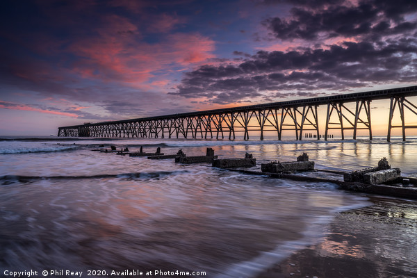 Sunrise at Steetley Pier Canvas Print by Phil Reay