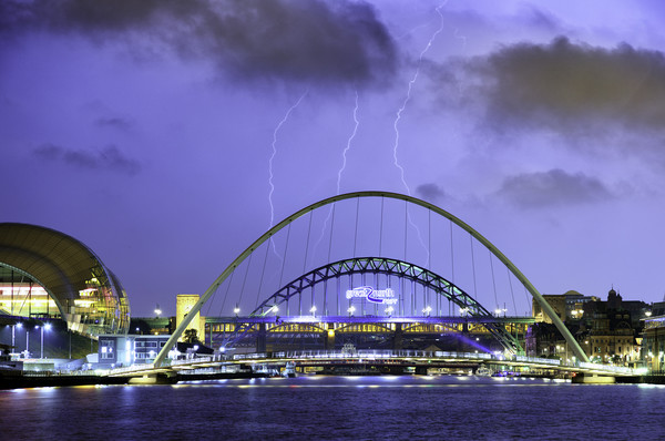 Newcastle Lightning Canvas print by Alan Wallace