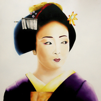 Buy canvas prints of  Japanese Geisha oil painting by Julian Bound