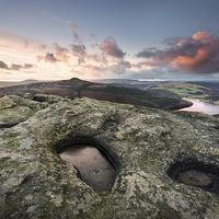 Buy canvas prints of  Bamford Edge Sunset overlooking Ladybower Reservo by Phil Sproson