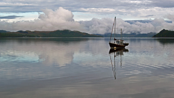 Anchored on Loch Fyne Canvas print by Richard Hunt-Smith