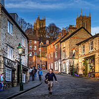 Buy canvas prints of Steep Hill and the Cathedral. by Bill Allsopp