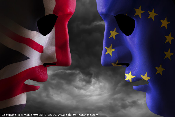 Brexit head to head EU and UK flags Framed Mounted Print by simon bratt LRPS