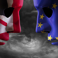 Buy canvas prints of Brexit head to head EU and UK flags by simon bratt LRPS