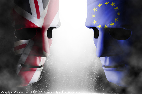 Brexit head to head faces UK and EU Framed Mounted Print by simon bratt LRPS
