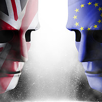 Buy canvas prints of Brexit head to head faces UK and EU by simon bratt LRPS
