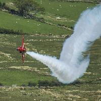 Buy canvas prints of  Red Arrows fast & low....smoke on... by Max Stevens