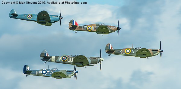 WWII spitfire formation Canvas print by Max Stevens