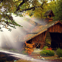 Buy canvas prints of  Cabin in the woods by Fox Images