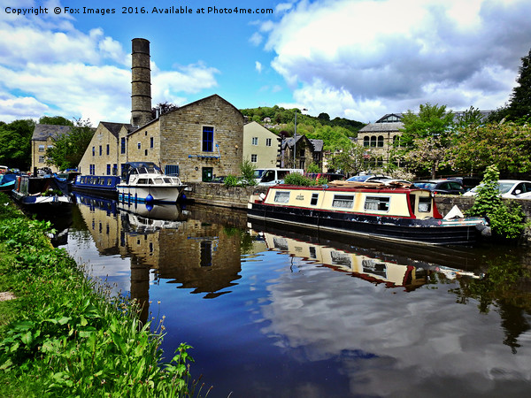 Hebden bridge canal boats Canvas Print by Fox Images