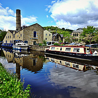 Buy canvas prints of Hebden bridge canal boats by Fox Images
