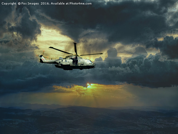 merlin helicopter  Acrylic by Fox Images