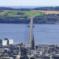 Buy canvas prints of  tay road bridge Dundee in colour by aidan dunbar