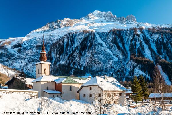 Argentiere village and church in winter.  Canvas print by Chris Warham