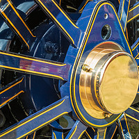 Buy canvas prints of Blue and brass steam traction engine wheel by Chris Warham