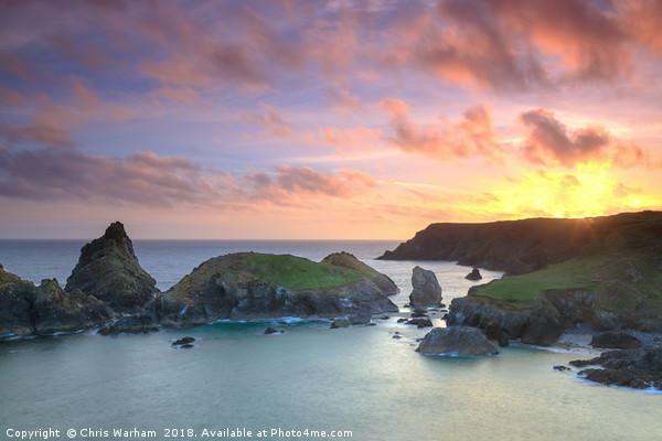 Kynance Cove Cornwall sunset Canvas print by Chris Warham