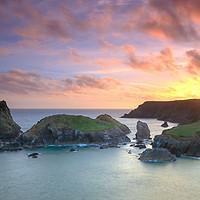 Buy canvas prints of Kynance Cove Cornwall sunset by Chris Warham