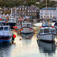 Buy canvas prints of Mevagissey harbour evening by Chris Warham