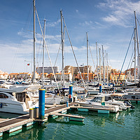 Buy canvas prints of Vilamoura Harbour - The Algarve, Portugal by Chris Warham