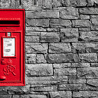 Buy canvas prints of Red postbox in a dry stone wall by Chris Warham