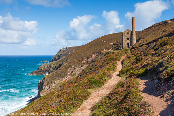 Chapel Porth coast path and Wheal Coates, Cornwall Canvas Print by Chris Warham