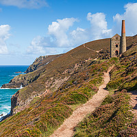 Buy canvas prints of Chapel Porth coast path and Wheal Coates, Cornwall by Chris Warham