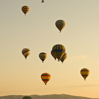 Buy canvas prints of Hot air balloons in Cappadocia, Turkey by Mike Sannwald