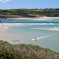 Buy canvas prints of Kite surfing Hayle beach by Beryl Curran