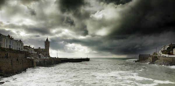 Porthleven Cornwall on a stormy day   Canvas print by DEREK ROBERTS
