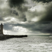 Buy canvas prints of Porthleven Cornwall on a stormy day   by DEREK ROBERTS