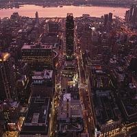 Buy canvas prints of Manhattan sunset skyline by Adam Szuly