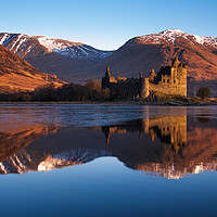 Buy canvas prints of Kilchurn Castle, red sunrise, Loch Awe, Scotland. by John finney