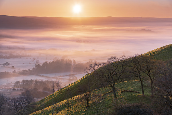 Hope valley Spring sunrise  Canvas print by John finney