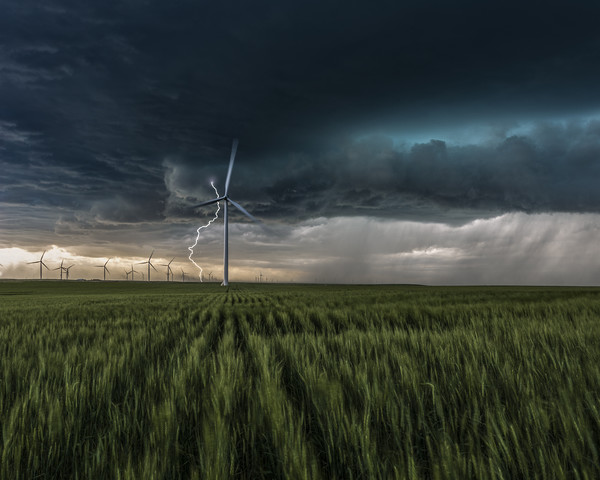 Colorado Windfarm Storm Canvas print by John Finney