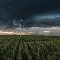 Buy canvas prints of Colorado Windfarm Storm by John Finney