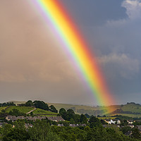 Buy canvas prints of Rainbow over New Mills, Derbyshire by John Finney