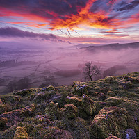 Buy canvas prints of Red Sky in the Morning, Peak District  by John Finney