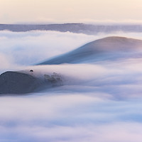 Buy canvas prints of Flowing Mist over Back Tor & Lose Hill at Sunrise. by John Finney