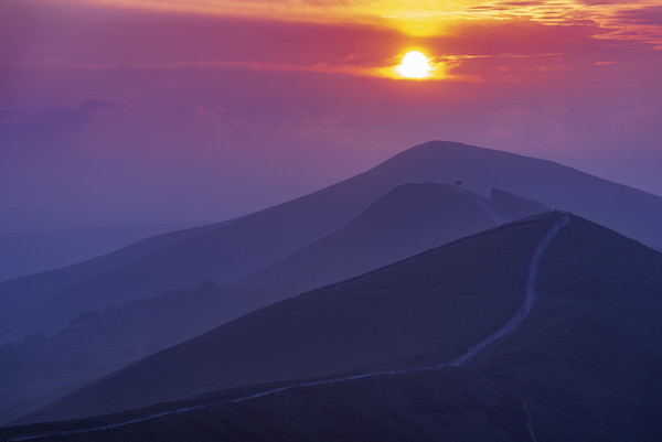 The Sunrise Layers of Back Tor, Peak District.  Canvas Print by John Finney