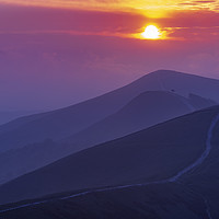 Buy canvas prints of The Sunrise Layers of Back Tor, Peak District.  by John Finney