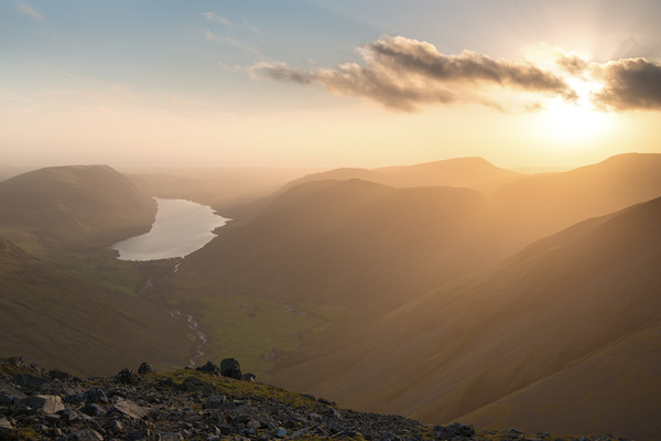 Great Gable sunset, Lake District.   Canvas Print by John Finney