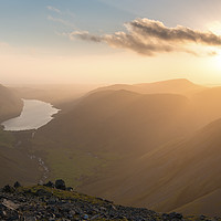 Buy canvas prints of Great Gable sunset, Lake District.   by John Finney