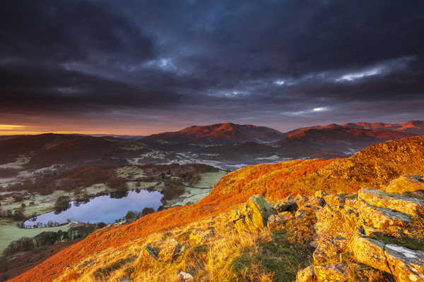 Great Langdale in Red, Lake District Canvas Print by John Finney