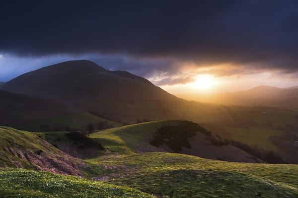 Blencathra sunrise from Latrigg, Lake District Canvas Print by John Finney