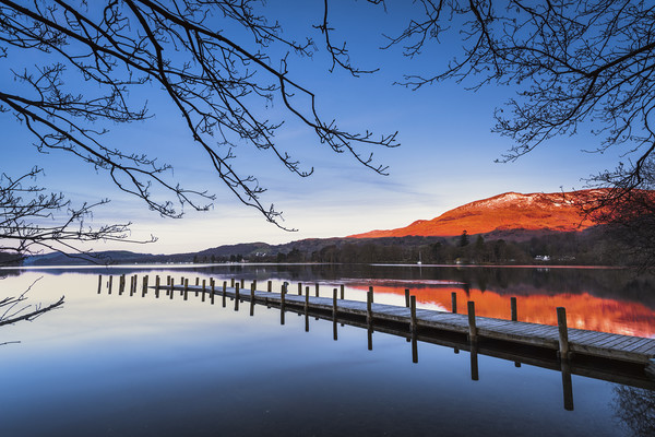 Old Man of Coniston from Coniston water at sunrise Canvas Print by John Finney