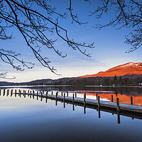 Buy canvas prints of Old Man of Coniston from Coniston water at sunrise by John Finney