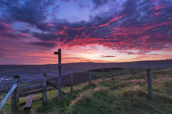 Glossop Dawn from the top of Munks Rd. Derbyshire Canvas Print by John Finney