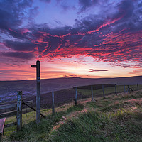 Buy canvas prints of Glossop Dawn from the top of Munks Rd. Derbyshire by John Finney